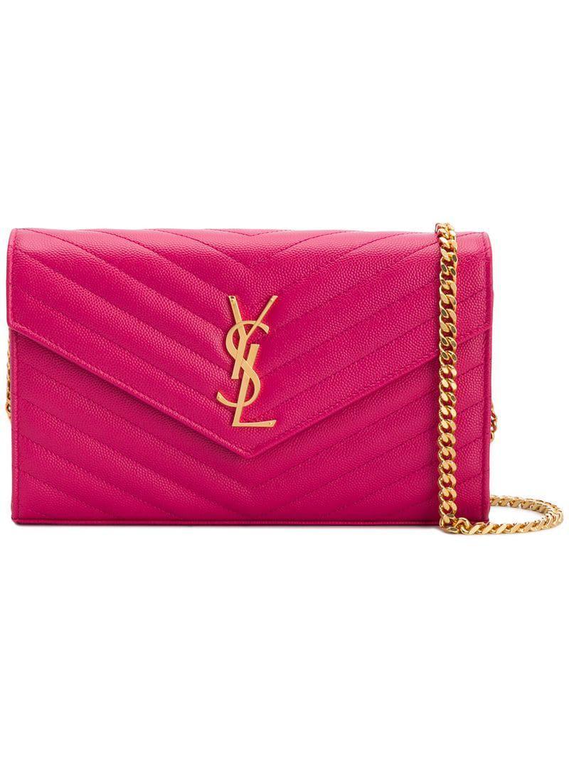 391162b832 Lyst - Saint Laurent Monogram Logo Shoulder Bag in Pink