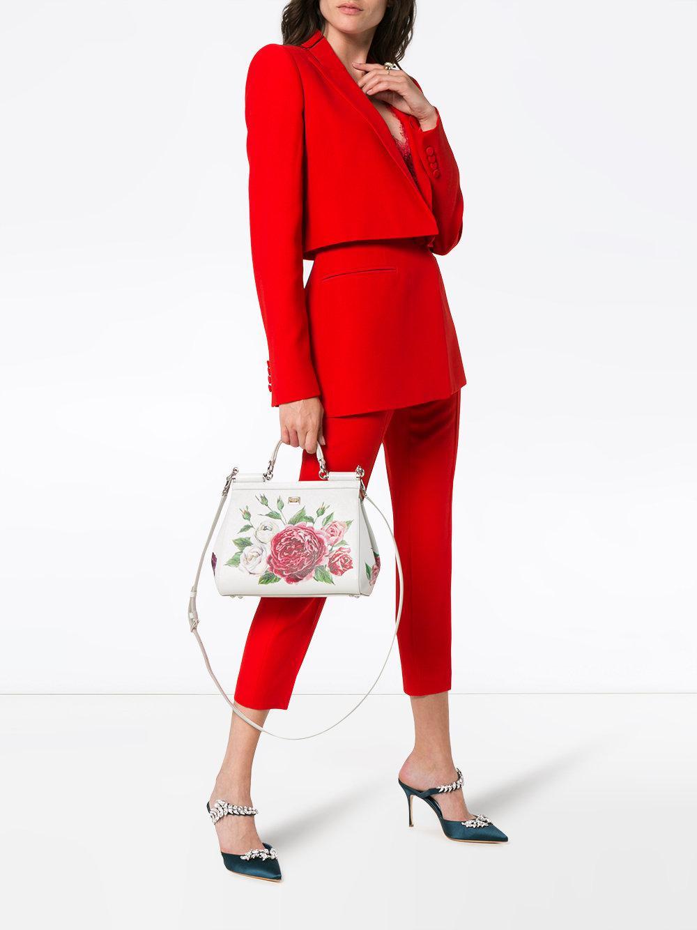 9b50394ffbe6 Dolce And Green View Handbag Fullscreen Leather Gabbana White amp  Print  Red Rose Sicily Lyst STaS4r