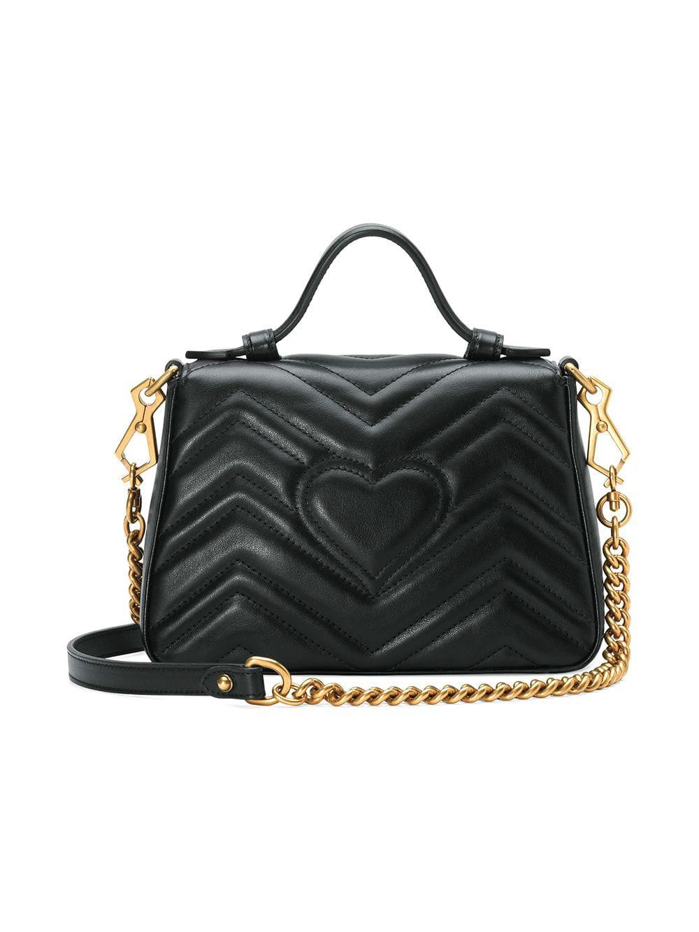 666055e647dc Gucci GG Marmont Mini Top Handle Bag in Black - Lyst