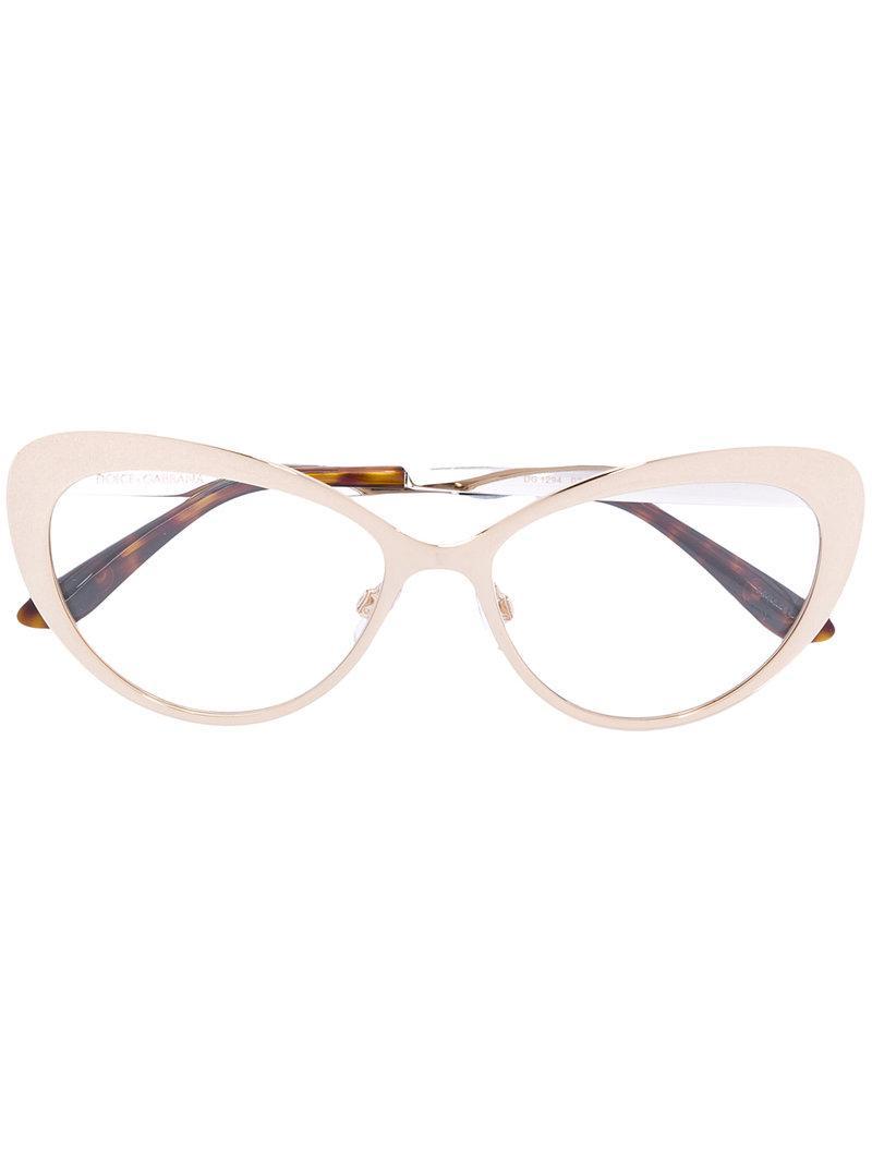 9a04d123beb Dolce   Gabbana Cat Eye Glasses in Metallic - Lyst
