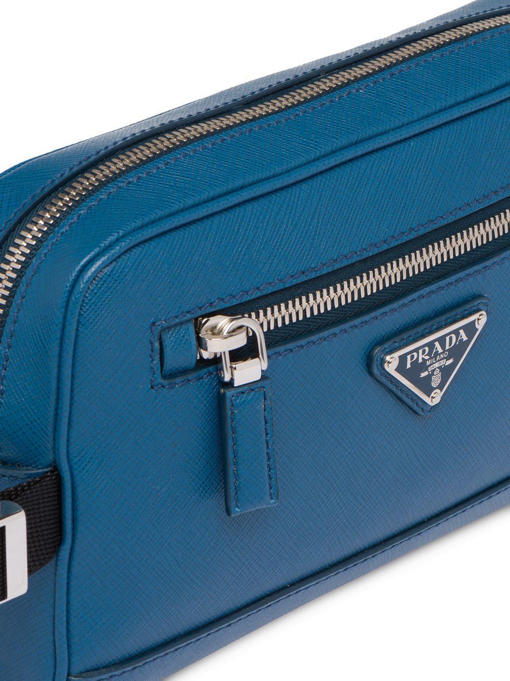 a5dcfc4fc35c Prada - Blue Saffiano Leather Belt Bag for Men - Lyst. View fullscreen