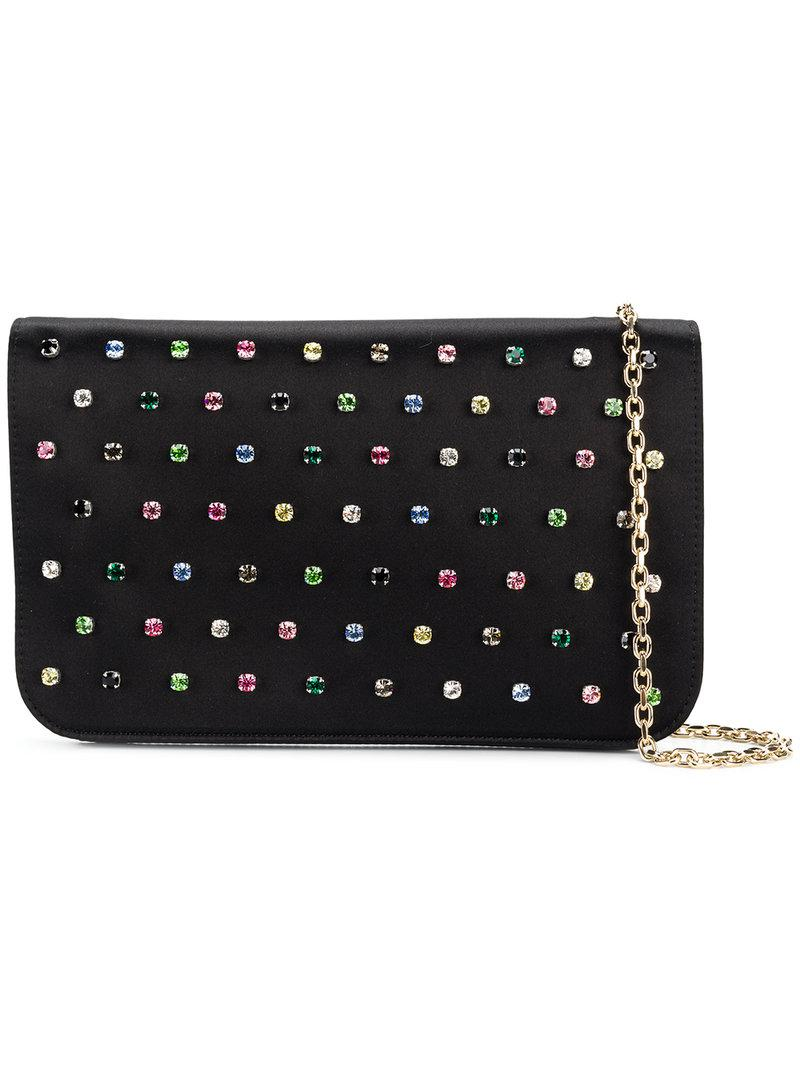 1425f83a23174 Lyst - Red Valentino Crystal Embellished Bag in Black