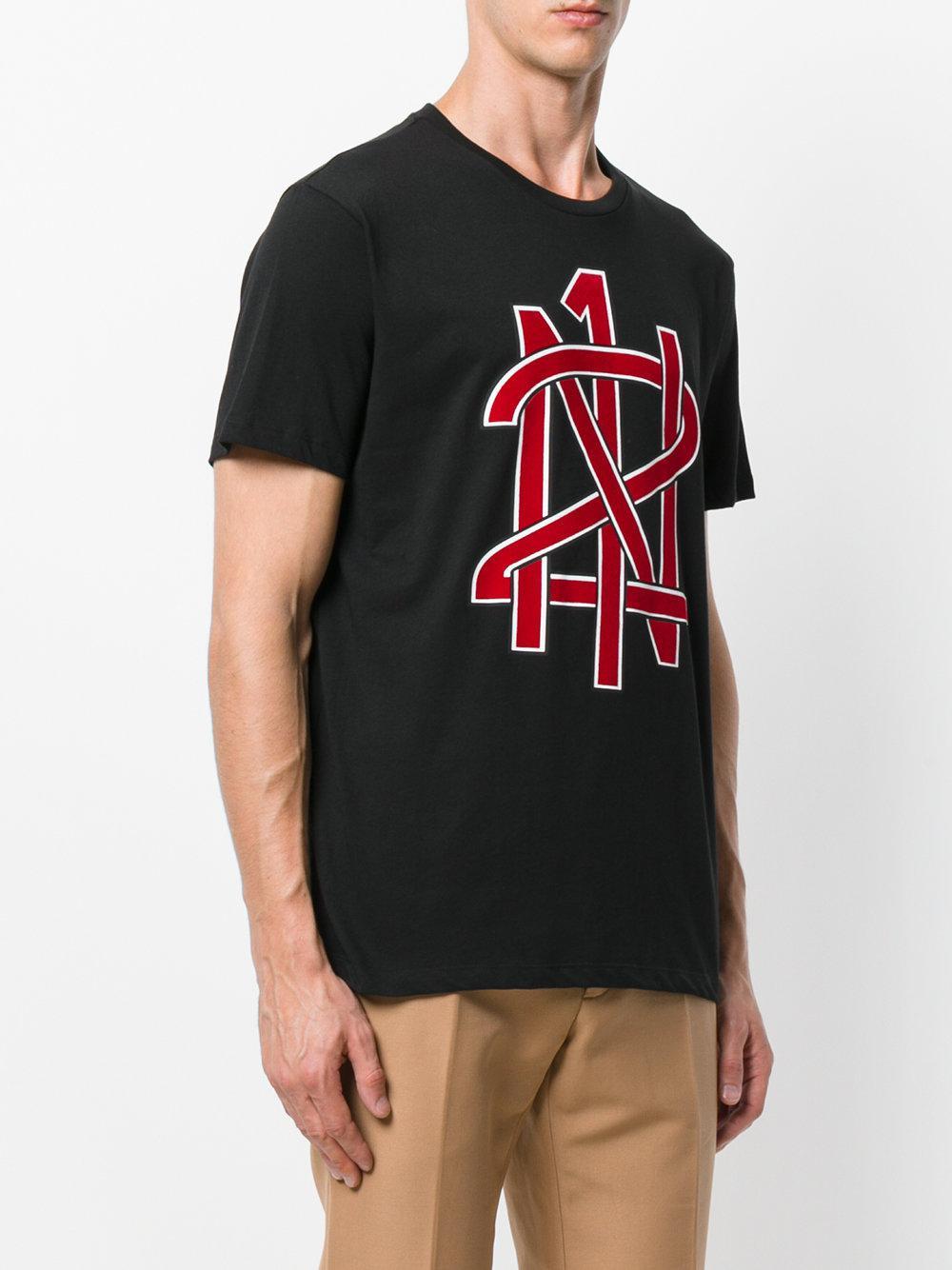 Lyst n 21 logo print t shirt in black for men for Logo print t shirt
