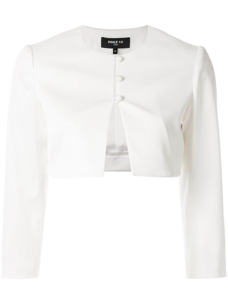 2cd8127de77 Paule Ka - White Cropped Fitted Cardigan - Lyst. View fullscreen