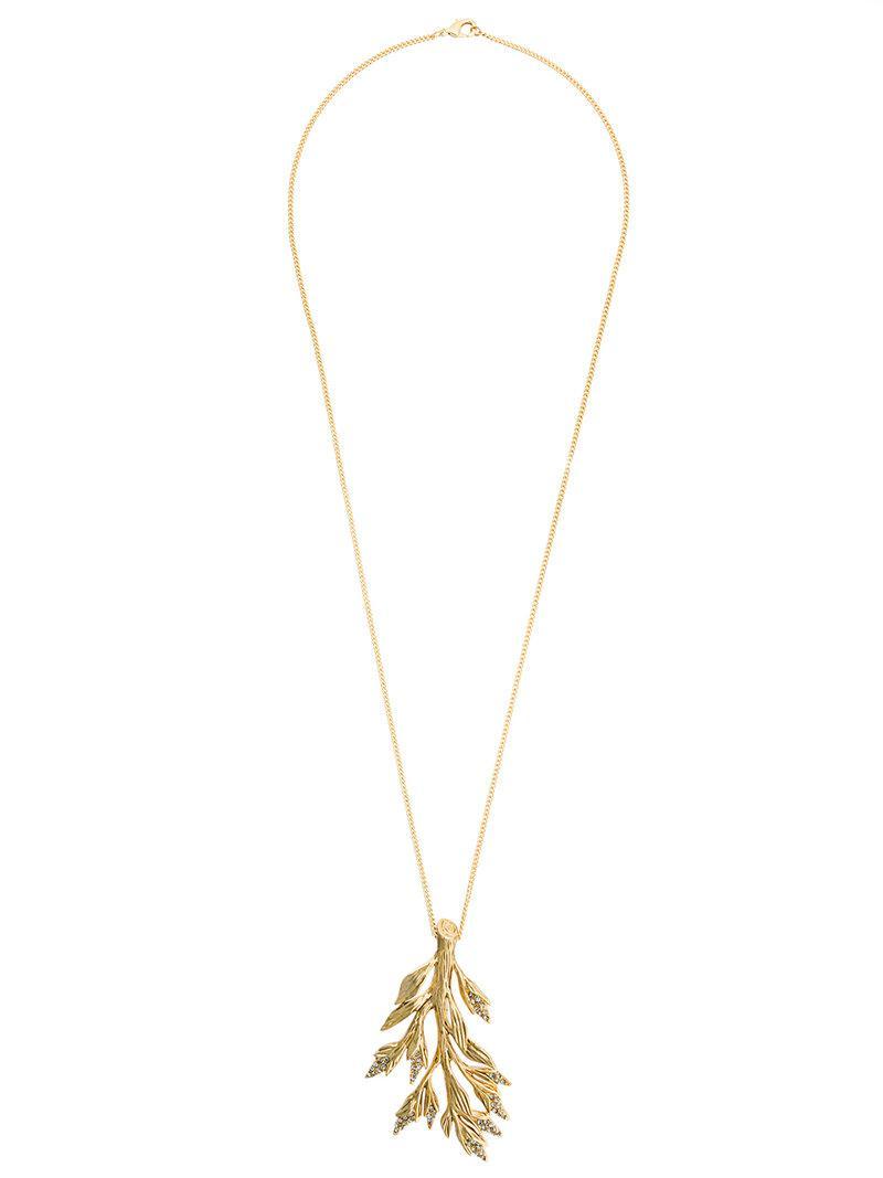 Alberta Ferretti feather pendant necklace - Metallic ybsTO