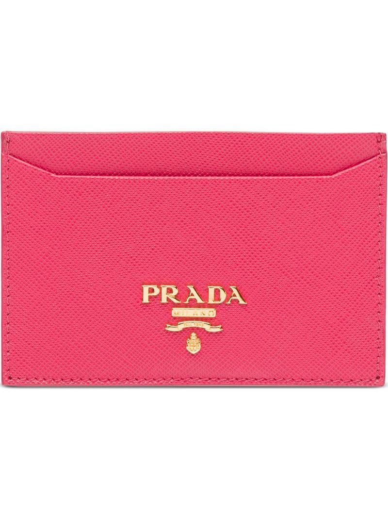 c420f7a812dc Prada - Pink Logo Cardholder Wallet - Lyst. View fullscreen