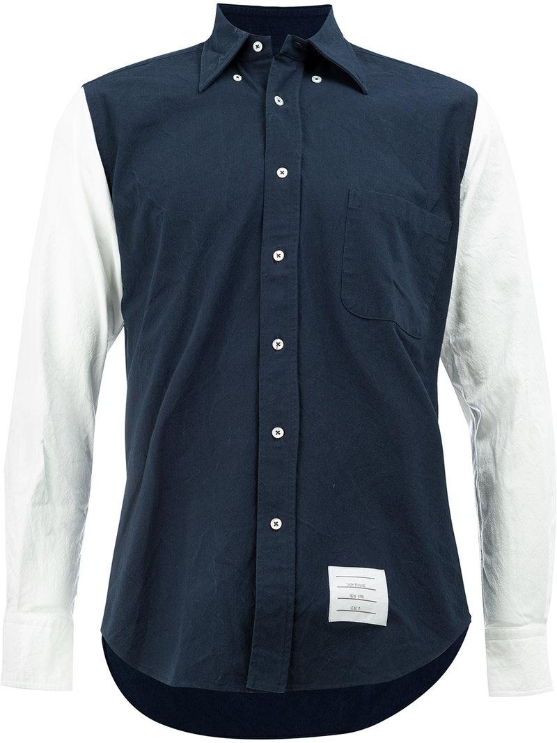 Lyst thom browne contrasting button down shirt in white for Thom browne white shirt