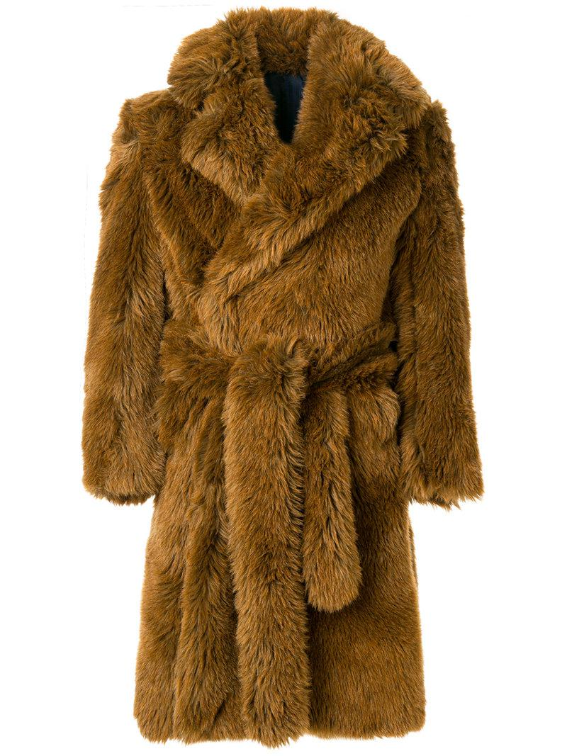 407990af91 Lyst - Mp Massimo Piombo Oversized Eco-fur Dressing Gown Style Coat ...