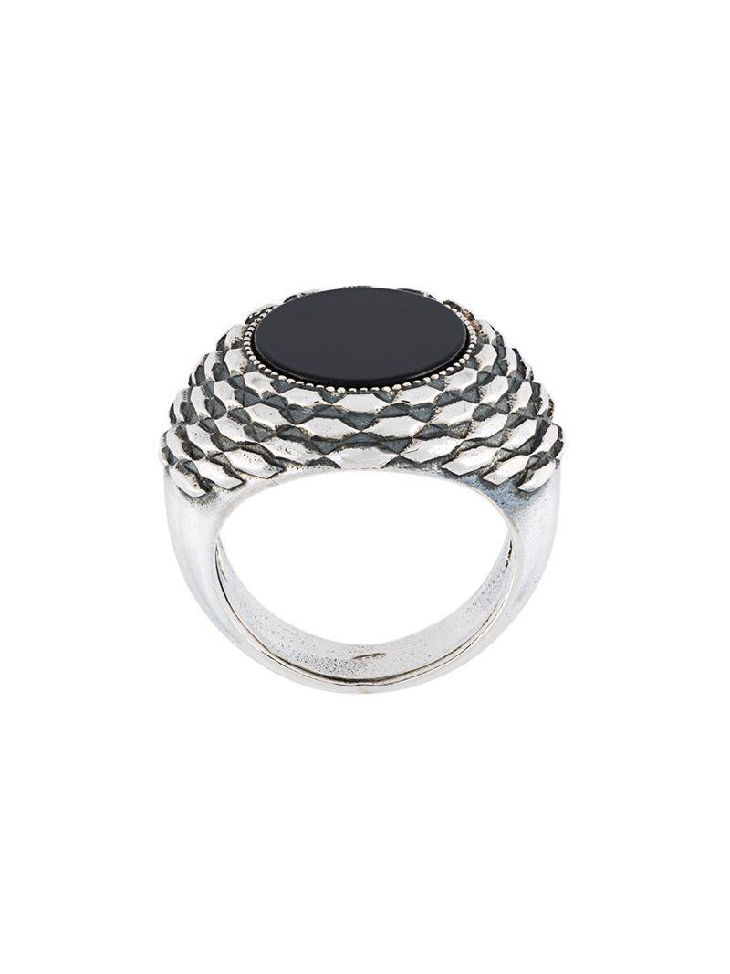 Emanuele Bicocchi round stone embellished ring - Metallic H4LggRG83Z