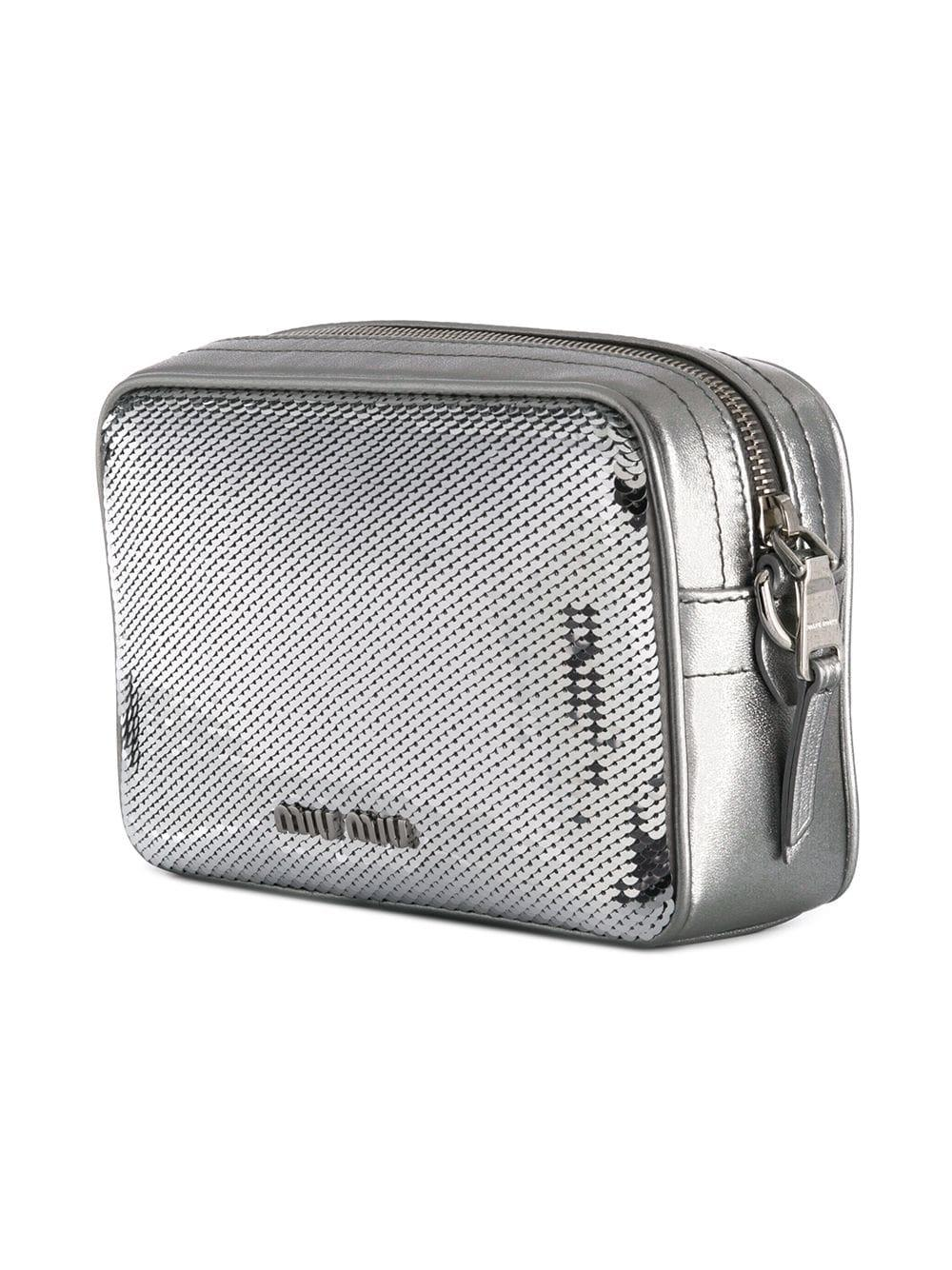 143db2ad7af5 Miu Miu - Metallic Sequined Logo Crossbody Bag - Lyst. View fullscreen