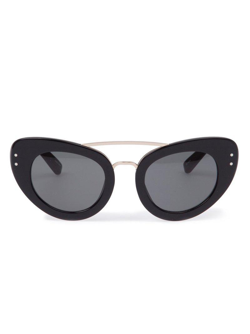 d1c94c35fbb Linda Farrow Erdem 7 Diamante Browline Sunglasses in Black - Lyst