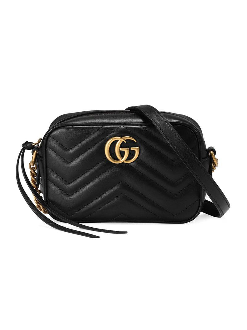 6ceab986a436 Gucci Black GG Marmont Mini Leather Bag in Black - Save 6% - Lyst