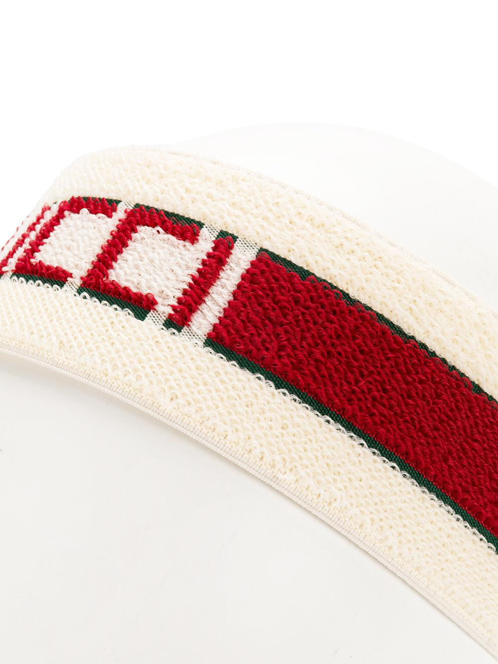 Gucci Logo Stripe Headband in White for Men - Lyst 143a37fdcfb