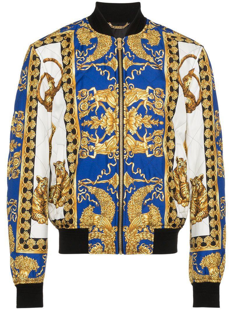 Lyst - Veste bomber à imprimé baroque Versace pour homme en coloris Bleu 5ef0570fea8