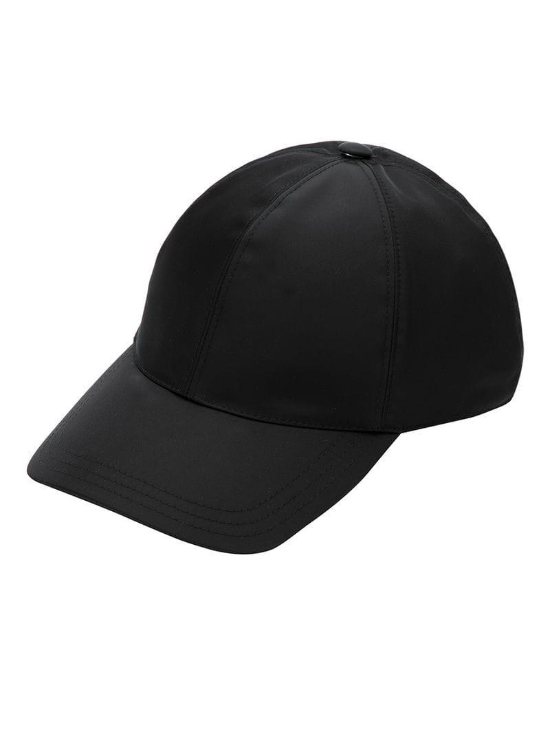 Prada Triangle Logo Baseball Cap in Black - Lyst d3e7b8c2355d
