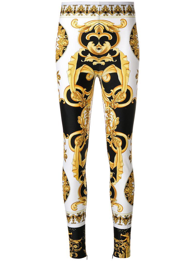 1da35f3476a3f Versace Baroque Print Leggings in White - Lyst