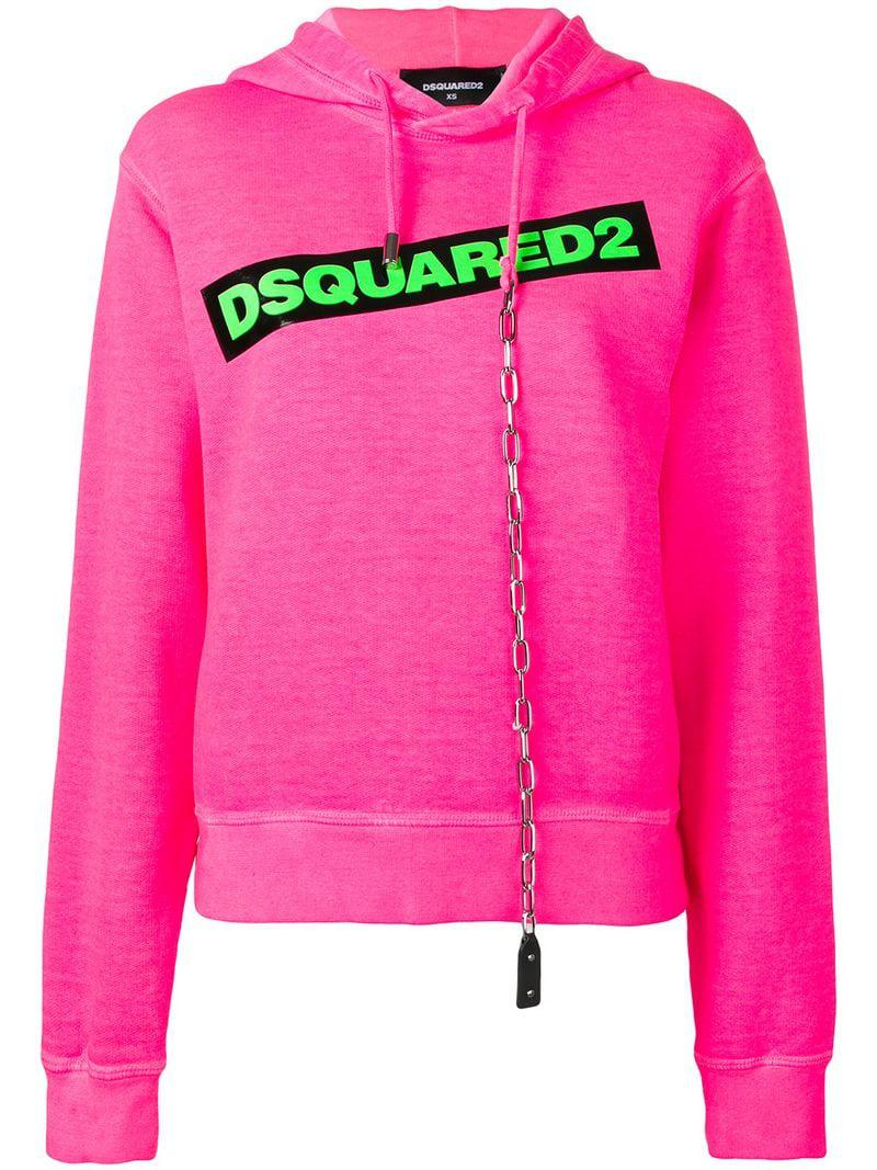 ed14d90a434f Lyst - Dsquared² Contrast Logo Hoodie in Pink