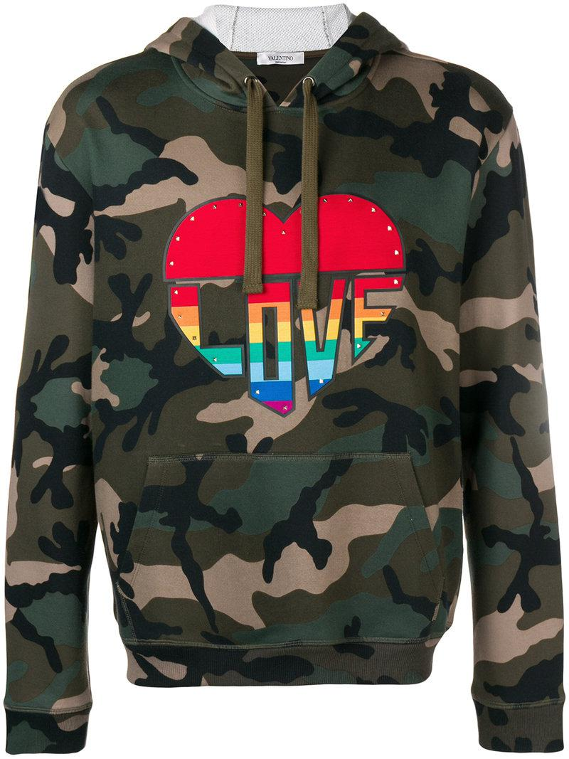 a2d5107f3ea9c Valentino Love Camouflage Hoodie in Green for Men - Lyst