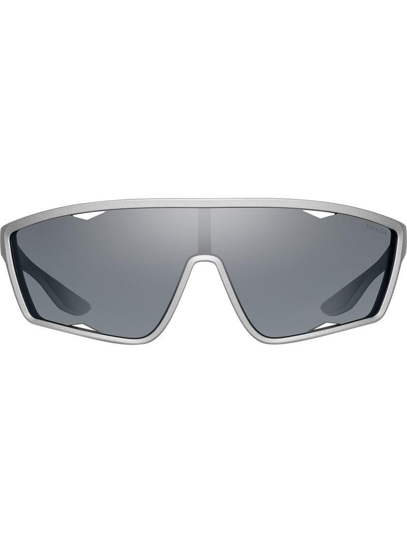 1f80a139a55 Lyst - Prada Mirrored Sunglasses in Gray for Men