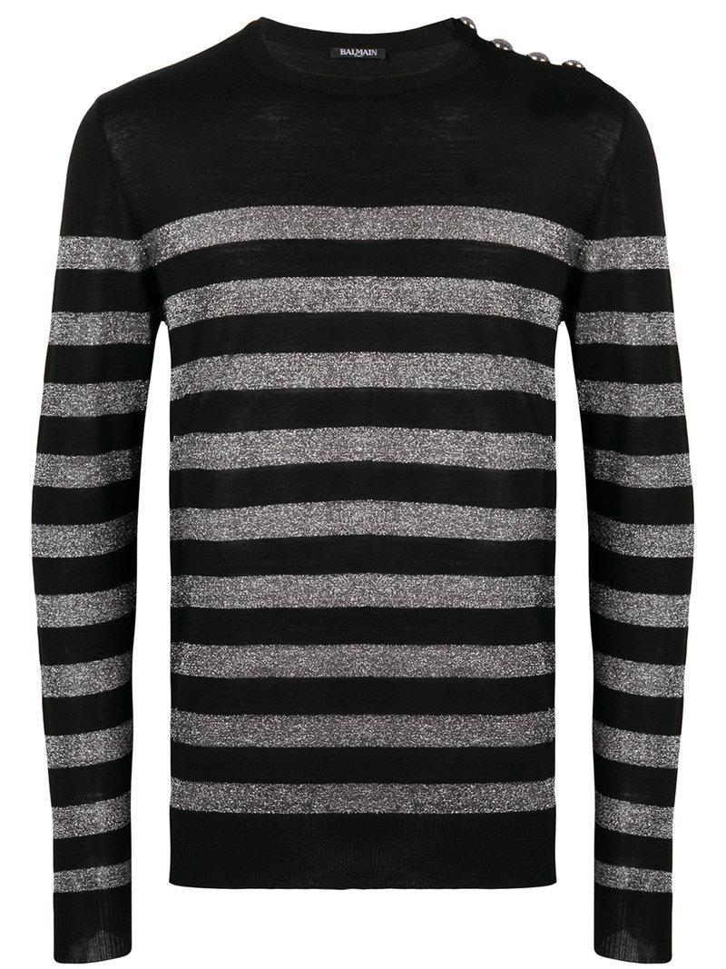 44df3c35bb Balmain - Black Metallic Striped Sweater for Men - Lyst. View fullscreen
