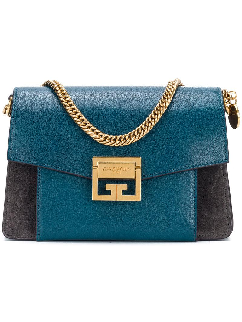 c2b44f3e16 Lyst - Givenchy Gv3 Small Leather   Suede Shoulder Bag in Blue ...