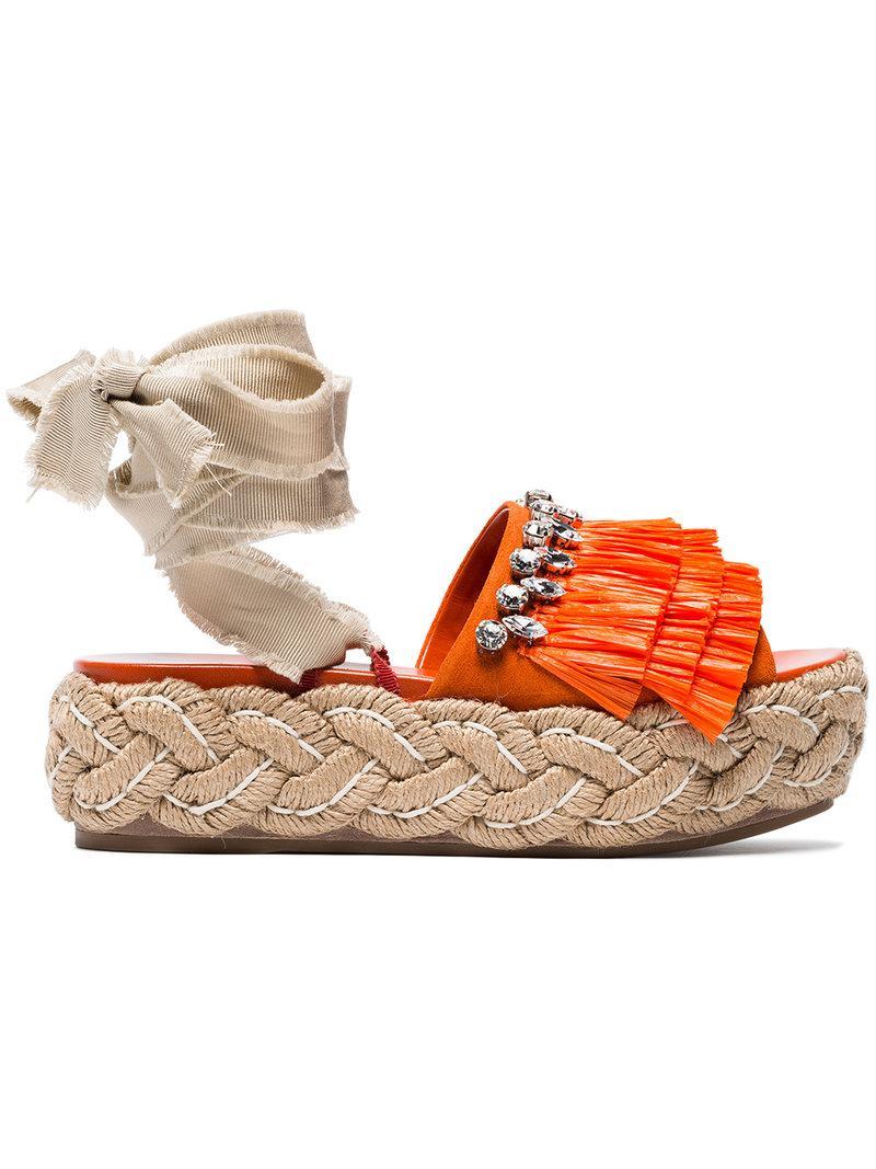 Miu Miu Sandales 45 à franges Jeu À Trouver Les Meilleurs Le Plus Grand Fournisseur De Livraison Gratuite Acheter En Ligne Authentique 0psX0