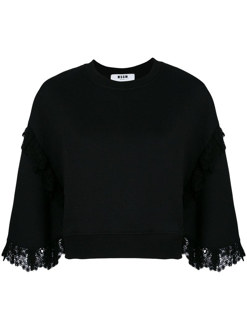 1457200e29 MSGM - Black Lace Trim Sweatshirt - Lyst. View fullscreen