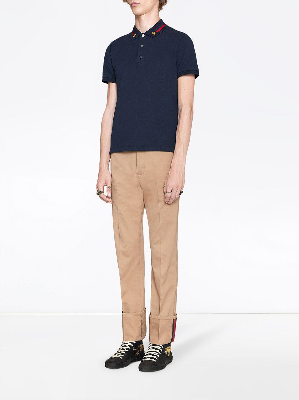 e2603d7e2d6 Lyst - Polo en coton avec bande Web et abeille Gucci pour homme en coloris  Bleu