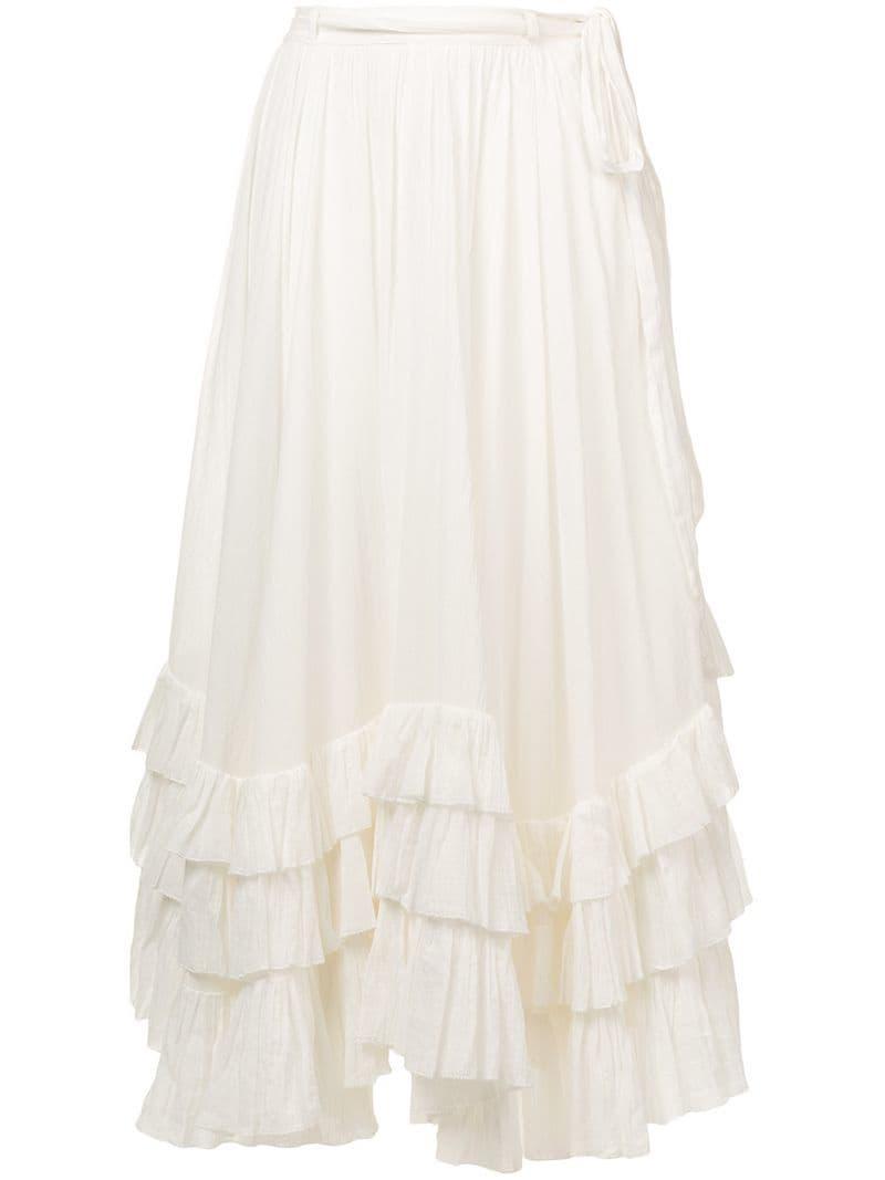 276ada3ce3872 Lyst - Polo Ralph Lauren Belted Long Skirt in White