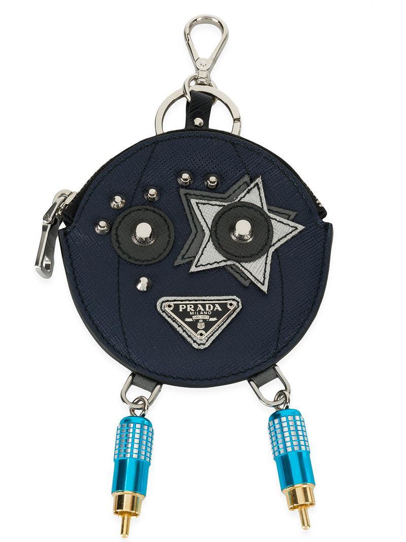 Prada circular key pouch - Blue idg0k