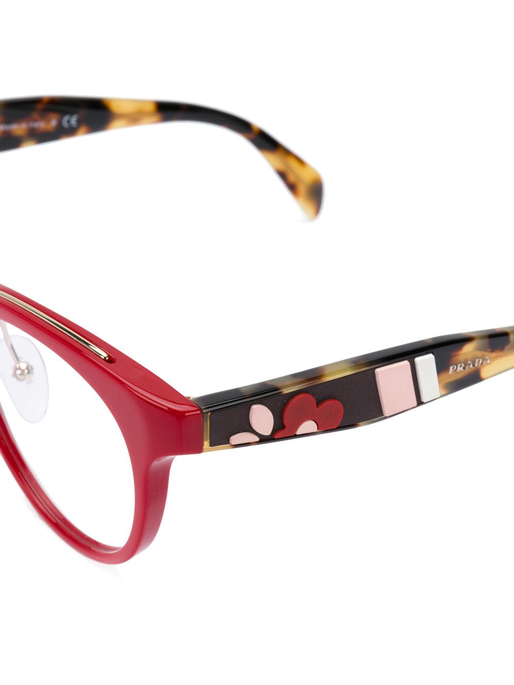 Lyst - Prada Round Frame Glasses in Red