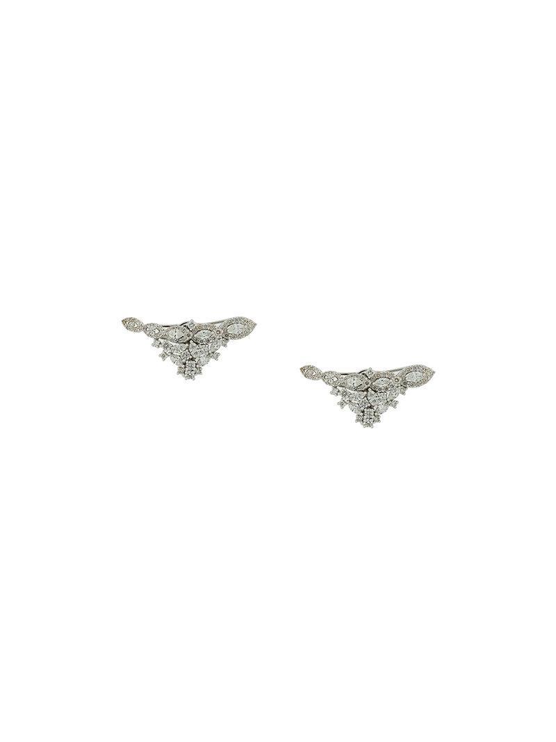 Yeprem 18kt gold tree branch diamond earrings - Metallic EnH87