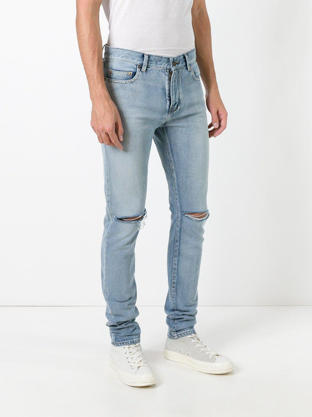 busted knee slim fit jeans - Blue Saint Laurent LYt2YP