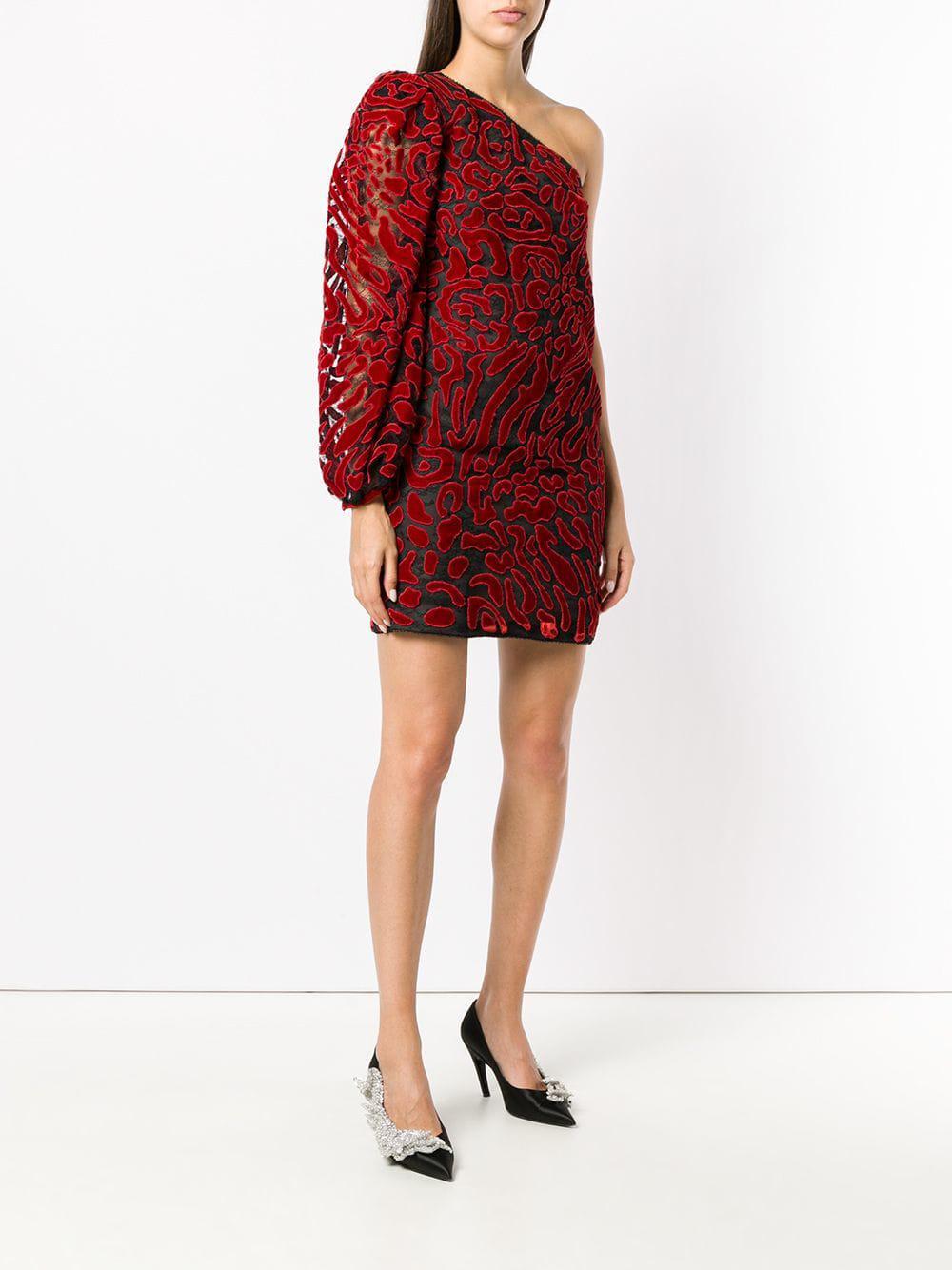 b08d9e74e5 Givenchy - Red One Shoulder Leopard-print Dress - Lyst. View fullscreen