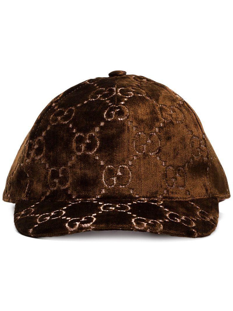Lyst - Gorra de béisbol con bordado GG Gucci de color Marrón 288f214ca0f