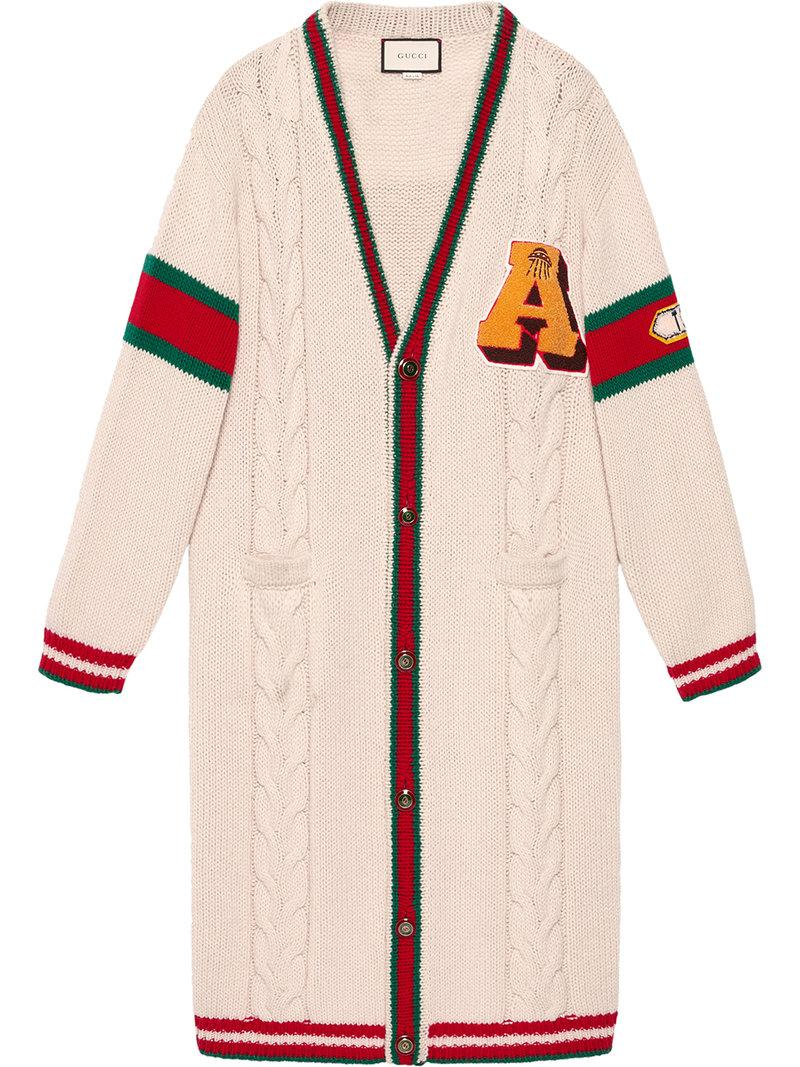 62db5e3f3c9 Gucci Embroidered Chunky Cable Knit Cardigan in White - Lyst