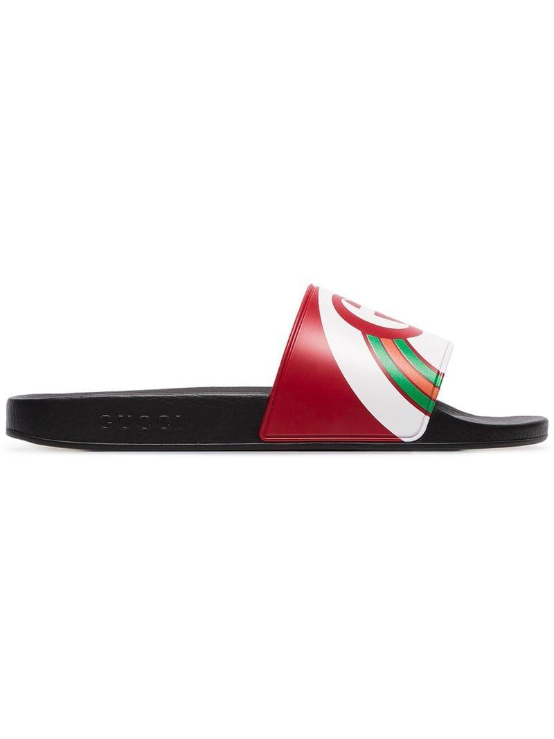 9b33a948ce7 Gucci Multicoloured Pursuit Logo Slides in Red for Men - Save ...