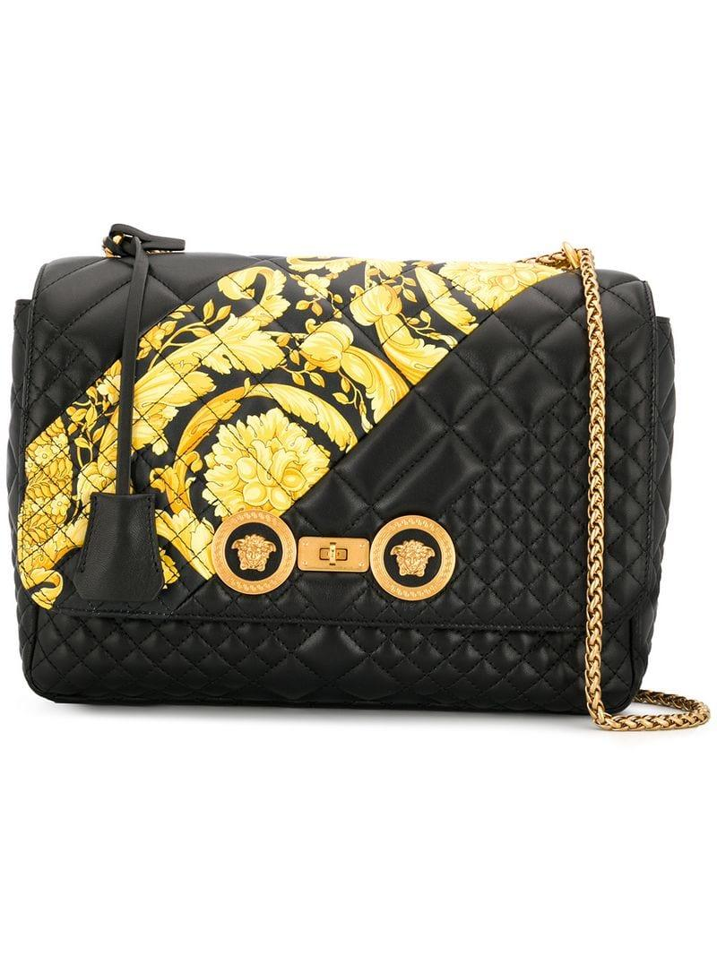 502a398f458f Lyst - Versace Icon Quilted Shoulder Bag in Black