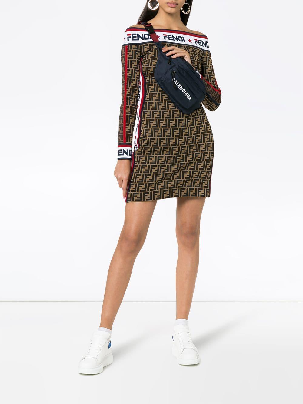 b7b7ff4ae464 Lyst - Fendi Mania Logo Cotton Jersey Dress in Brown - Save 33%