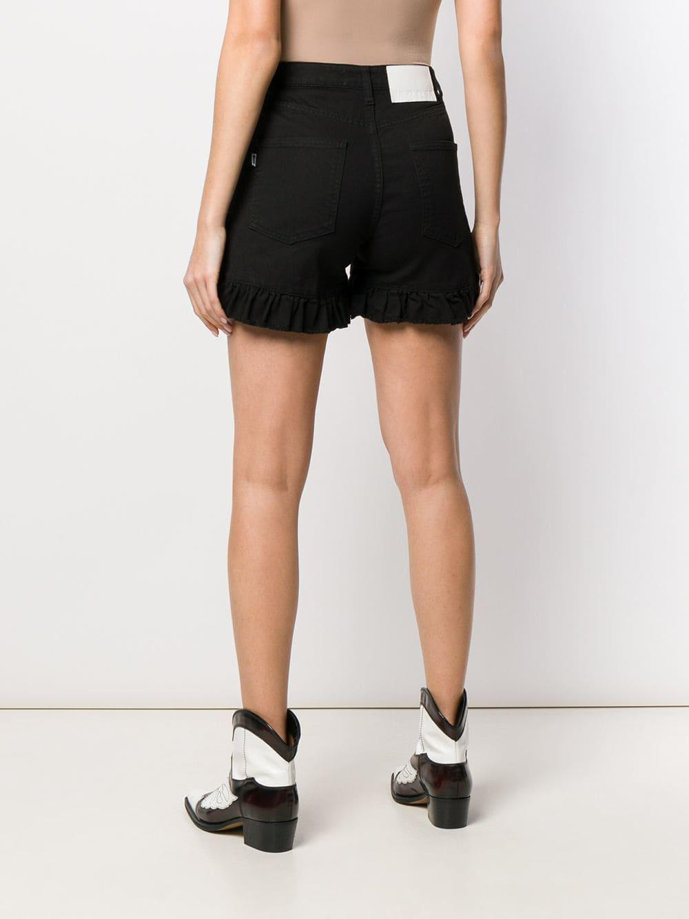 29769e9b30 MSGM - Black Frill Hem Denim Shorts - Lyst. View fullscreen