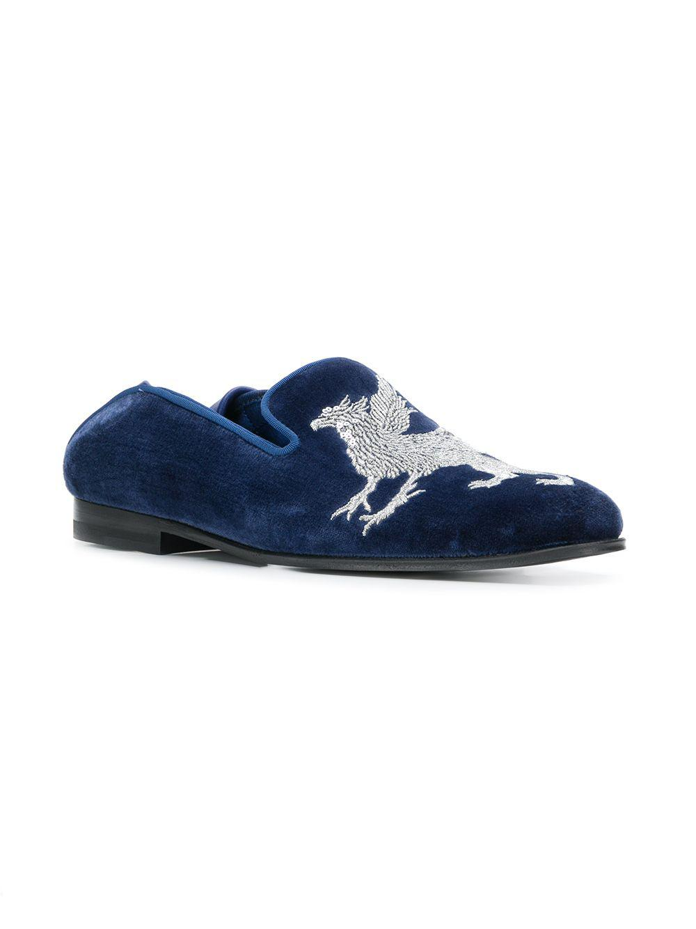 8bc43ce87ec Lyst - Alexander McQueen Griffin Embroidered Loafers in Blue