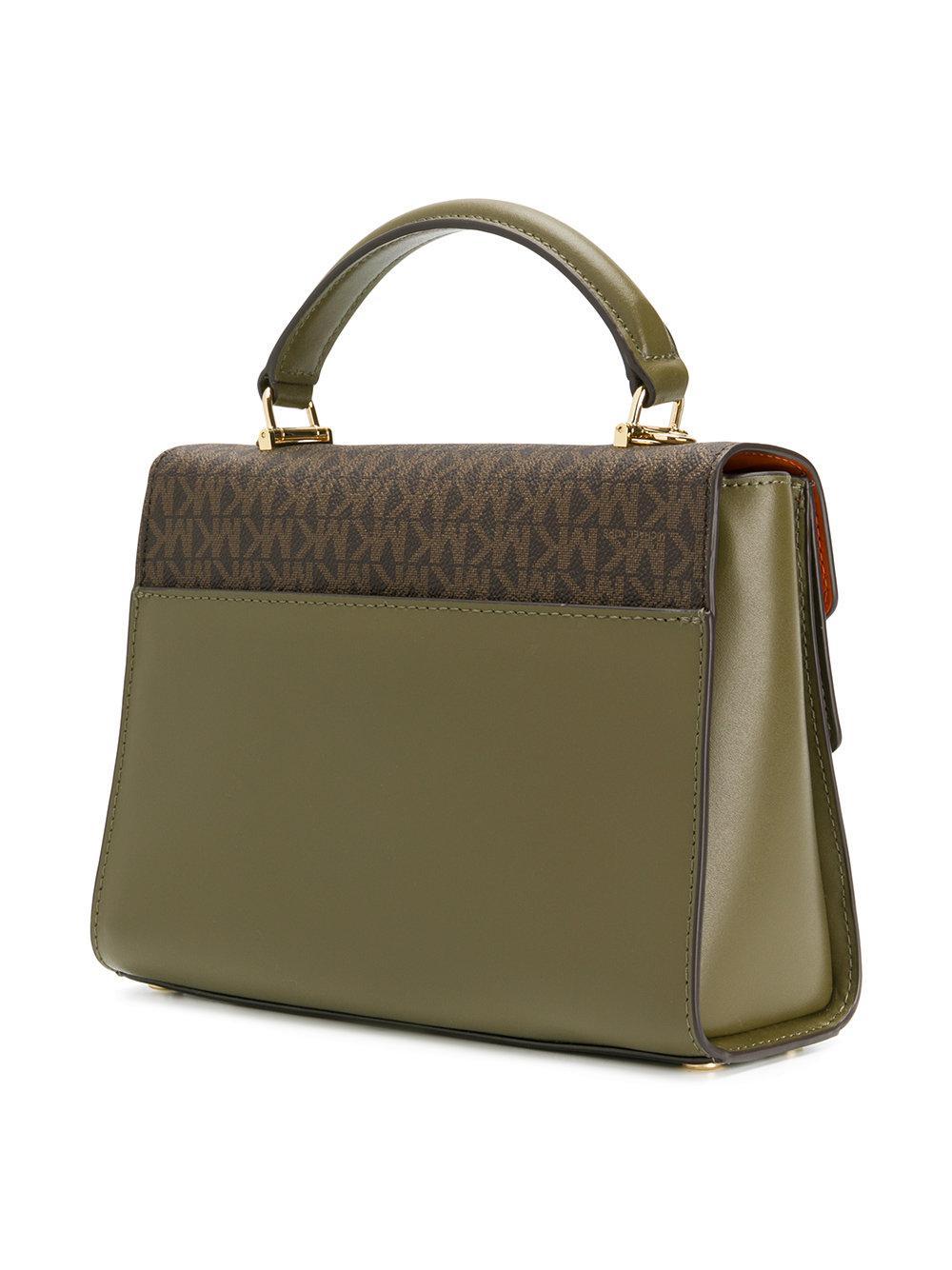 98620407f122 Michael Kors Colourblock Monogram Satchel Bag in Green - Lyst