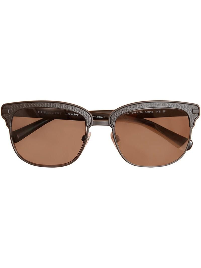 9d75dd2dc6c Burberry Textured Front Square Frame Sunglasses in Black for Men - Lyst