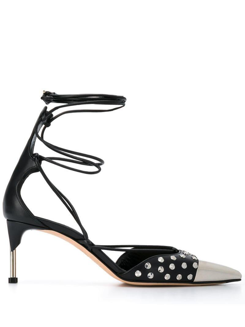 d92b8a198238 Lyst - Alexander McQueen Studded Laced Pumps in Black