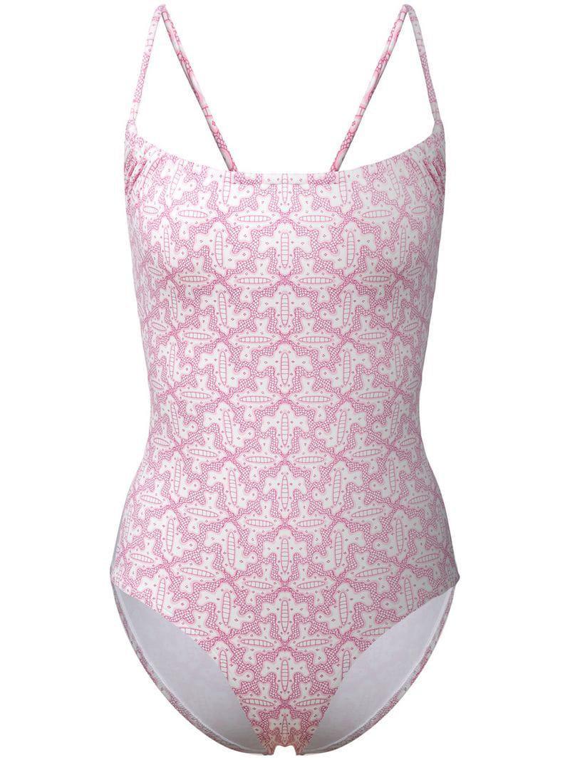 b66e28ed98 Lyst - Le Sirenuse Geometric Pattern Swimsuit in White