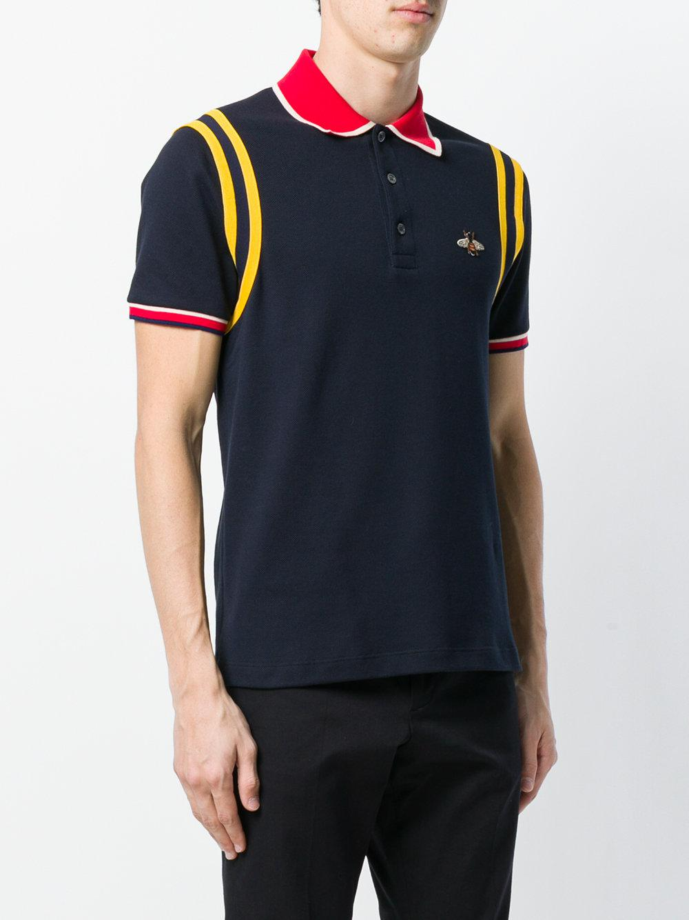 e5e3bb9d9c7 Lyst - Gucci Bee Patch Polo Shirt in Blue for Men
