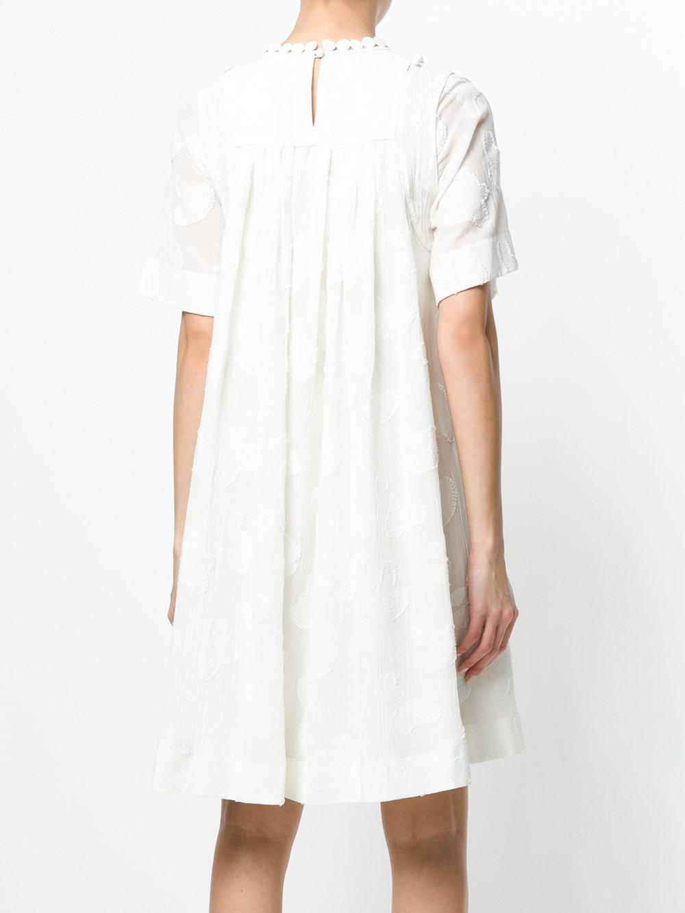 blanco blanco vestido Mini vestido Chloé blanco bordado bordado bordado Mini Chloé Chloé bordado Mini vestido Mini vestido aw85qCwz