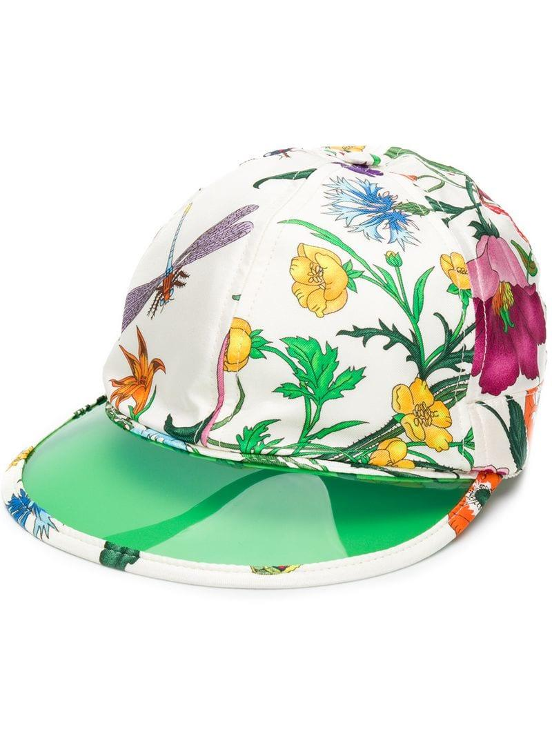 5446d3c2 Lyst - Gucci Floral Print Cap in White for Men