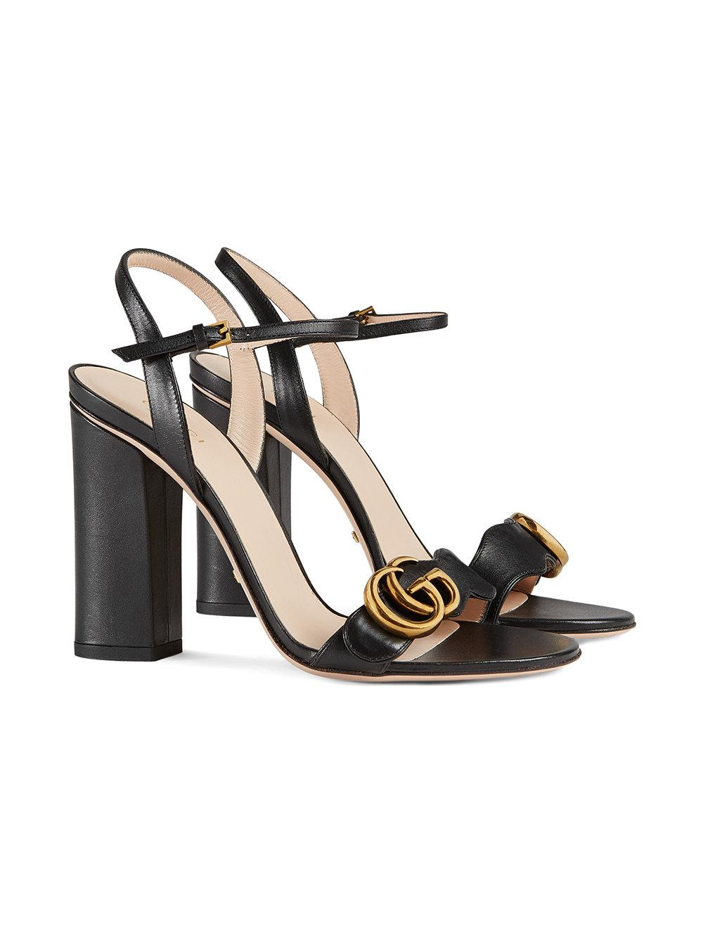 Lyst - Gucci Leather Sandals in Black