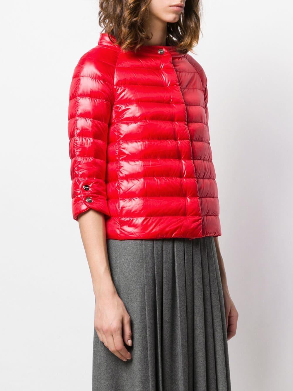 5b4e0ce546a Herno - Red Short Puffer Jacket - Lyst. View fullscreen